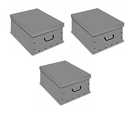 ordnungs Cajas Deko cartón caja Clip Juego de 3 gris caja para el hogar Oficina Ropa