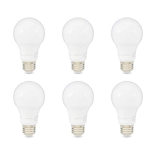 AmazonBasics 60W Equivalent, Daylight, Dimmable, CEC Compliant, A19 LED Light Bulb   6-Pack
