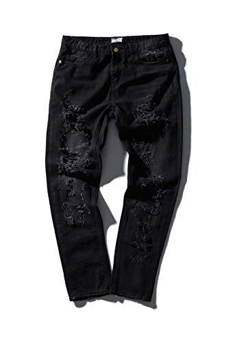 Tide Brand Jeans Men's Jeans Straight Embroidered Shredded Jeans (Black, m)