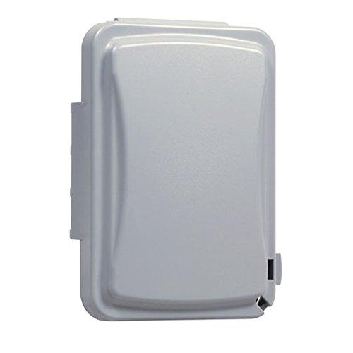 Taymac - Cubierta para receptáculo de salida individual resistente a la intemperie, 5/8 1.5 cm de profundidad, Gris, gris