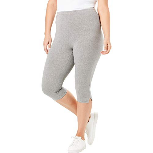 (Woman Within Women's Plus Size Stretch Cotton Capri Legging - Medium Heather Grey, L)