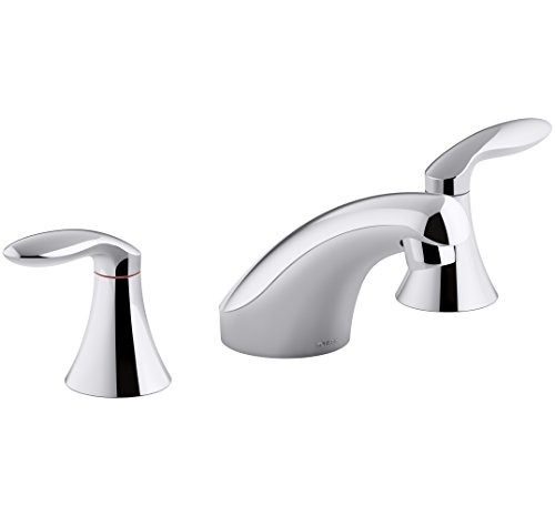 KOHLER K-15265-4NDRA-CP Coralais Widespread Bathroom Sink Faucet with Lever Handles without Pop-Up Drain or Lift Rod, Polished Chrome Coralais Widespread Bathroom Faucet