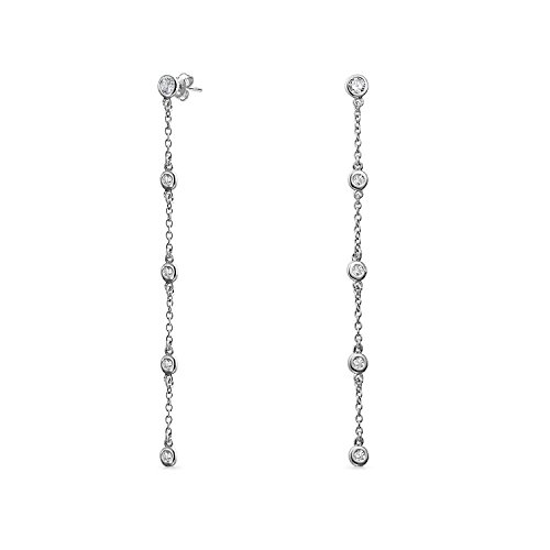 Minimalist Long Thin Linear CZ Cubic Zirconia By The Inch Dangle Prom Stud Earrings For Women 925 Sterling Silver