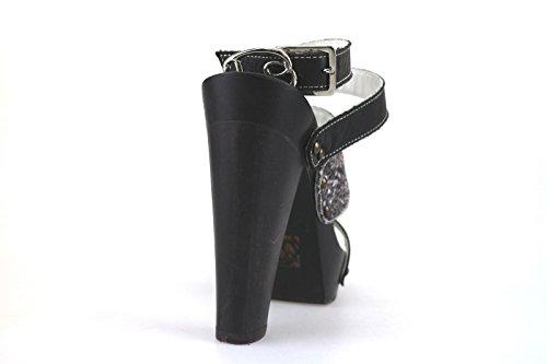 Braccialini Sandalen Damen Schwarz Leder Textile AH386 (40 EU)