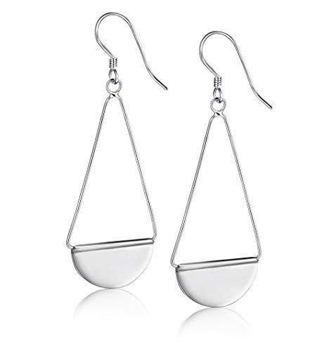 Sllaiss 925 Sterling Silver Paddle Dangle Earrings Geometric Triangle Statement Drop Earrings for Women Girls Lightweight