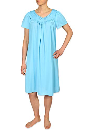 Miss Elaine Tricot Nightgown, Short Sleep Dress with Comfortable Lightweight Fabric, Flutter Sleeves (Medium, Marina Blue)