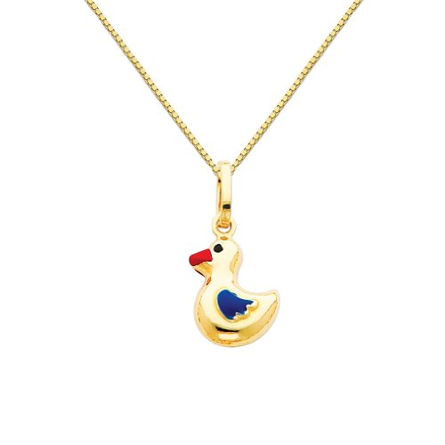 Gold Enamel Duck (Wellingsale 14k Yellow Gold Polished Duck Enamel Charm Pendant with 0.65mm Box Link Chain Necklace - 18