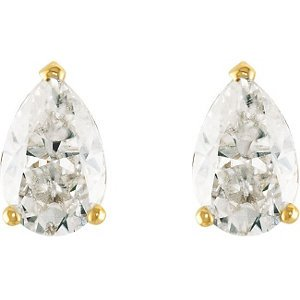 2 Cttw Charles and Clovard 14k Yellow Gold Moissanite Pear Solitaire Earrings by The Men's Jewelry Store
