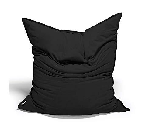 Wood & Style Velvet Twill Bean Bag Floor Pillow 3.5-Feet Black Decor Comfy Living Furniture Deluxe Premium Collection ()