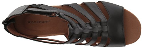 Briah Gladiator Black Women's Leather Wedge Sandal Rockport 8xB7q1aww
