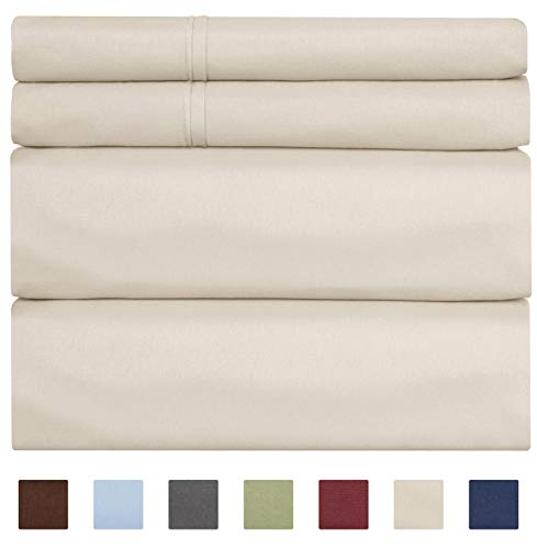 100% Cotton Sheets - Queen Size Cotton Sheets - 400 Thread Count Queen Size Sheets - Long Staple Queen Cotton - 400 TC Queen Sheet Set - Organic Cotton Bed ()