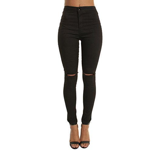 Oudan Jeans Skinny Jeans Zip Jeans Jeans Jeans Skinny Jeans avec des Trous Noir
