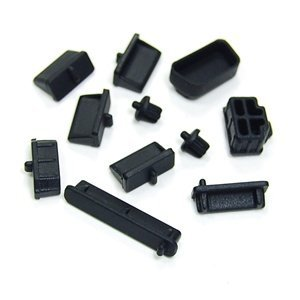 Cosmos Black silicone anti-dust stopper/plug set - 4x USB, 2x 3.5mm earphone/mic jack by COSMOS