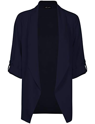Michel Womens Open Front Blazer Casual 3/4 Roll UP Sleeve Cardigan Blazer Navy Large