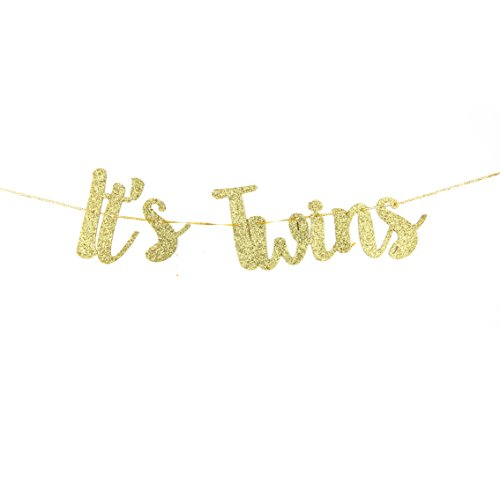 It's Twins Banner Gold Glitter Gender Reveal Pregnancy Announcement Party Decorations Supplies Boy Or Girl Party ()