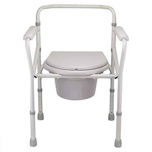 ステンレス鋼強化滑り止め便座|妊娠中の女性のホームモバイルトイレ|バスチェア - トイレ、高さ調節可能   B07QKBRK43