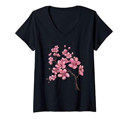 Womens Japanese Sakura Festival Pink Cherry Blossom Flower V-Neck T-Shirt