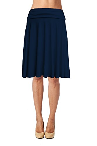 Womens Basic Soft Stretch Mid Midi Knee Length Flare Flowy Skirt Made in USA-Navy,Large