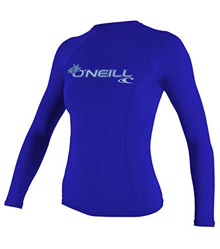 ONeill UV 50+ Sun Protection Womens Basic Skins Long Sleeve Crew Sun Shirt Rash Guard, Tahitian Blue, Large