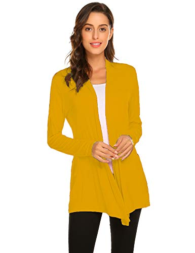 Newchoice Women's Soft Drape Lightweight Long Sleeve Cardigan Sweaters Casual Loose Long Open Front Cardigan Dusters (Yellow, L)