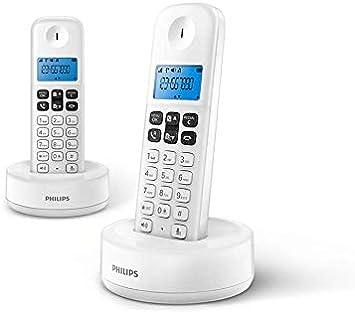 Philips D1612W/34 - Teléfono Fijo Inalámbrico (Retroiluminación, HQ-Sound, hasta 4 Microteléfonos, Agenda 50 números, Consumo reducido Eco, Identificador de Llamadas, Alcance 50m-300m) Blanco: Amazon.es: Electrónica