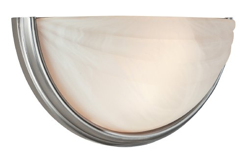 Crest  - 2-Light Wall Sconce - Satin Finish - Alabaster Glass Shade ()