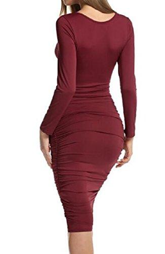 Midi Vino Increspato Comodi Lunghe A Donne Bodycon Solido Maniche Colore Vestito Abiti Di Rosso TxgwOYq