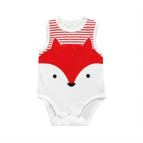 MOGOV Baby Boys Girls Summer Cute Multi-Style and Multi-Color Cartoon Print Sleeveless Cotton Jumpsuit Rompers Red