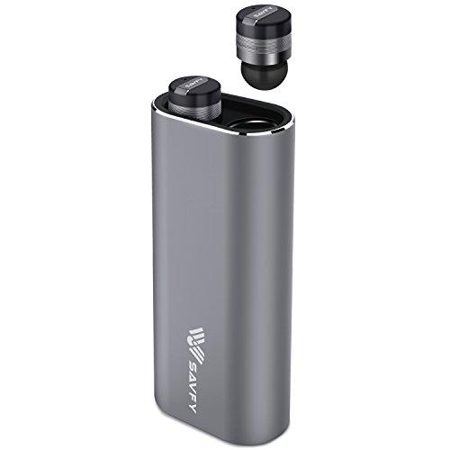 SAVFY Kopfhörer Mini Bluetooth 4.1 In Ear Headset Ein Paar mit CSV 6.0 Noise-Cancelling Mikrofon und Tragbare Ladehülle 2100mAh (Kleinste, Kabellos, Unsichtbar), Edles Grau