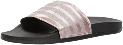adidas Performance Women's Adilette Comfort Slide Sandal, Vapour Grey Metallic/Vapour Grey Metallic/Black, 6 M US