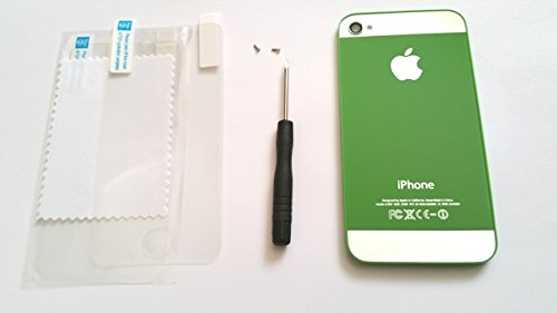 New After Market Color Replacement Rear Glass Back Cover Battery Door fits iphone 4 A1332 (Green / Mirror) + 1 Screw Driver, 2 Pentalobe Screws, and 1 Screen Protector Set