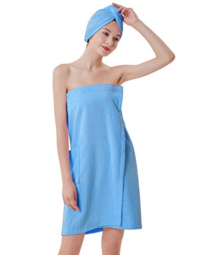 Women's Adjustable Microfiber Plush Spa Bath Shower Wrap for College Dorms Pools Gyms Beaches Locker Rooms Bathroom Blue XL