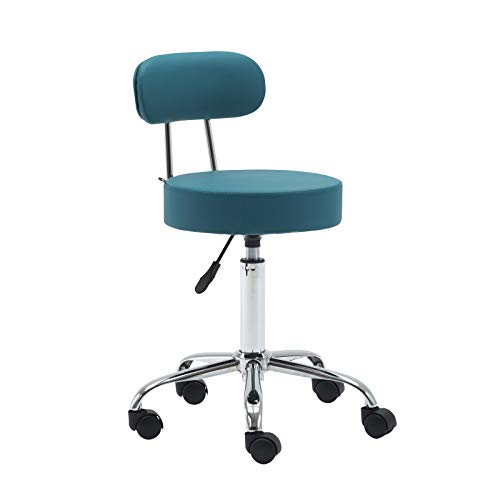 Artechwoks Round Rolling Massage Stool PU Leather Height Adjustable Swivel for SPA Medical Salon Stools Chair with Backrest and Wheels, Teal Green