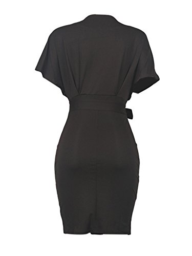 Women's Formal Pencil Dress Business Wear to Work Casual Short Sleeve Dress with Belt Black XXXL by SCORP (Image #3)