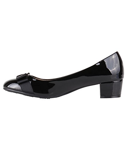Black Ballerina Patent Block Women Ladies Bow Work Party Pumps Courts Low Heel KRISP Shoes H4wCqv
