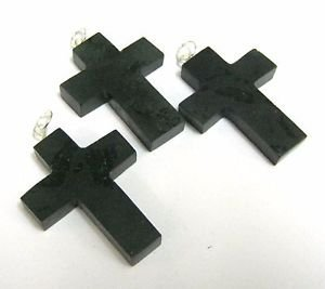 CRYSTALMIRACLE BEAUTIFUL SET OF THREE BLACK TOURMALINE CROSS PENDANTS WELLNESS PSYCHIC ENERGY HEALING DEFLECTOR LUCK FEAR FASHION WICCAN JEWELRY MEN WOMEN GIFT PROTECTIVE