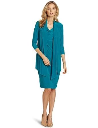Jones New York Women's Mock Jacket Dress, Teal, 6