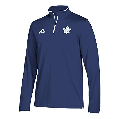 adidas Men's Toronto Maple Leafs NHL Authentic 1/4 Zip Pullover Dark Blue Size Medium