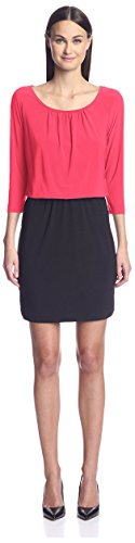 SOCIETY NEW YORK Women's 3/4 Sleeve Blouson Dress, Coral/Black, (Sleeve Blouson Dress)