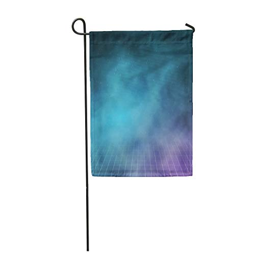 Semtomn Garden Flag 28x40 Inches Print On Two Side Polyester 80S of Clouds on Night 1980S Retro Neon Outer Space Home Yard Farm Fade Resistant Outdoor House Decor Flag ()