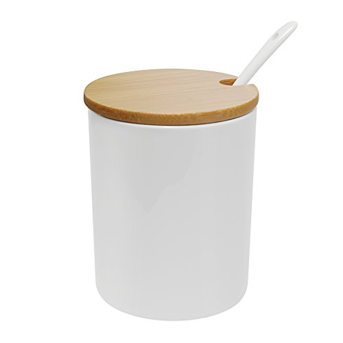 Sugar Bowl, 77L Ceramic Sugar Bowl with Sugar Spoon and Bamboo Lid for Home and Kitchen, Elegant Design, White, 10.8 OZ (320 ML)