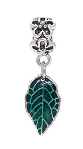 (J&M Dangle Spring Green Leaf Charm Bead for Bracelets)
