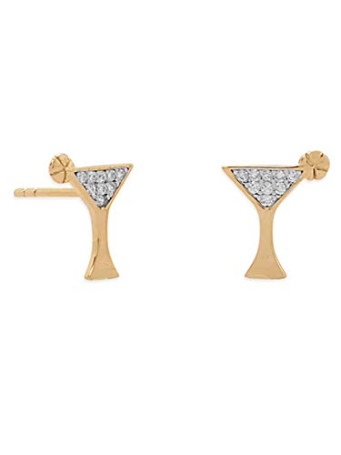 Martini Glass Stud Earrings Cubic Zirconia CZ Post Gold-plated Sterling Silver
