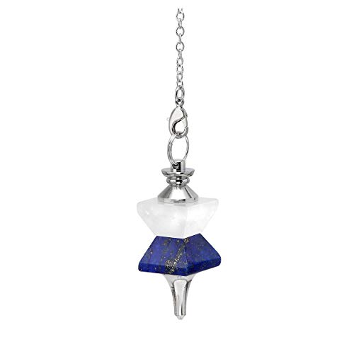 Top Plaza Natural Gemstone Lapis Lazuli Clear Quartz Crystal Divination Dowsing Faceted Pendulum Necklace Reiki Chakra Healing Balancing Funnel Pointed Pendant (Pendulum Lazuli Lapis)