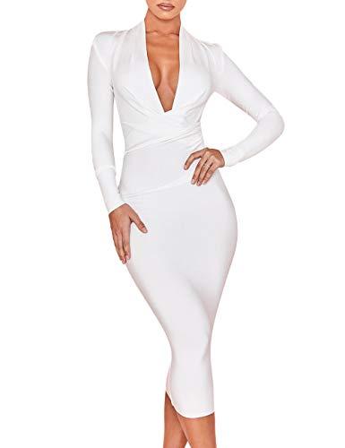 UONBOX Women's Deep Plunge V Neck Long Sleeves Draped Knee Length Bodycon Bandage Dress (L, White)