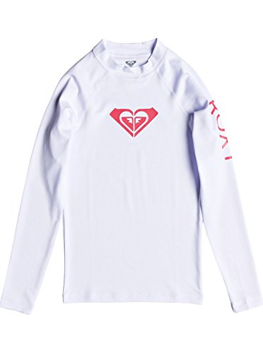 Roxy Big Girls' RG Whole Hearted Long Sleeve Rashguard, White, 16/XXL