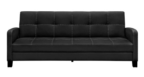 Sofa Sleeper Sofa Couch - DHP Delaney Sofa Sleeper in Rich Faux Leather, Multifunctional, Black