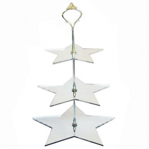 Three Tier Star Shaped Cake Stand - Mirrored - Large - Handled Cake Platter