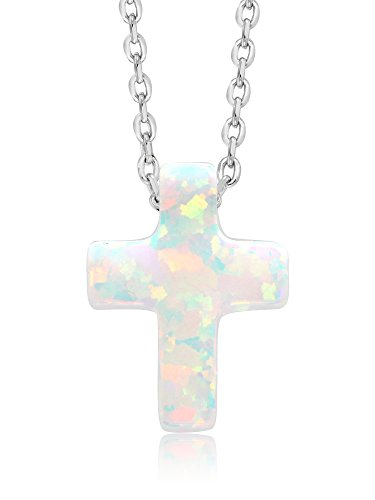 Gem Stone King Unisex 925 Sterling Silver 12MM Created Opal Cross Pendant On 18inches ()