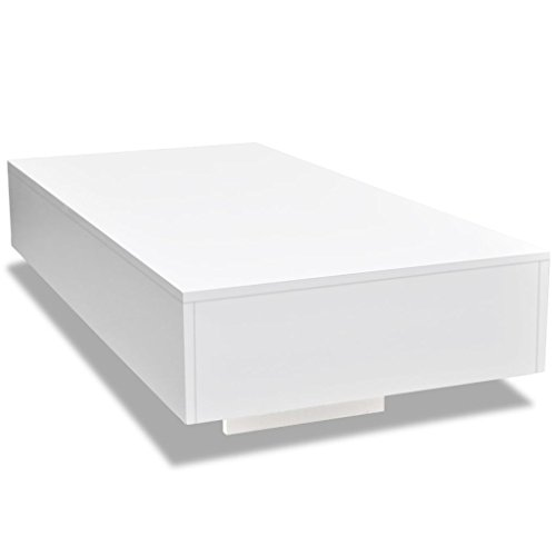 - vidaXL Coffee Table MDF High Gloss White 45.3